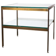Modernist  Bronze And Glass Side Table