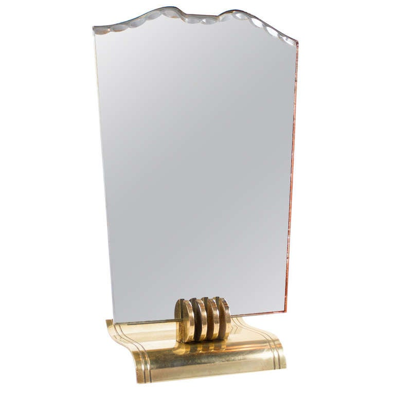 Stylish Vanity Mirror Attributed to Jean Pascaud