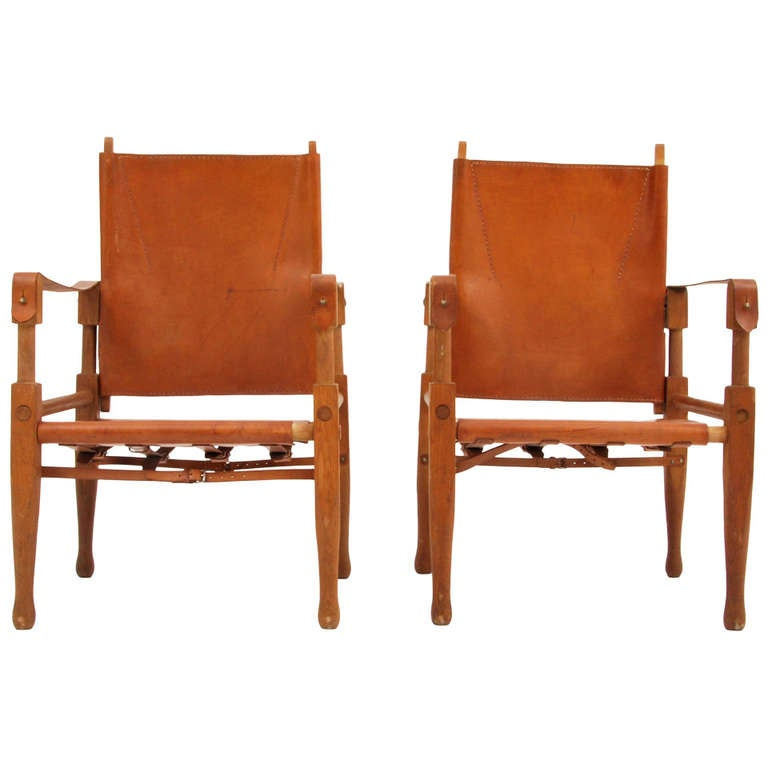 Rare Pair of Wilhelm Kienzle Safari Chairs