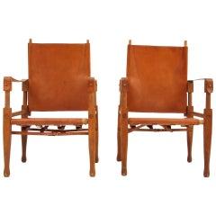 Rare Pair of Wilhelm Kienzle Safari Chairs