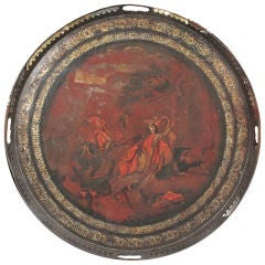 "Large Circular Hand-Painted Tole ""Pontypool"" Tray"