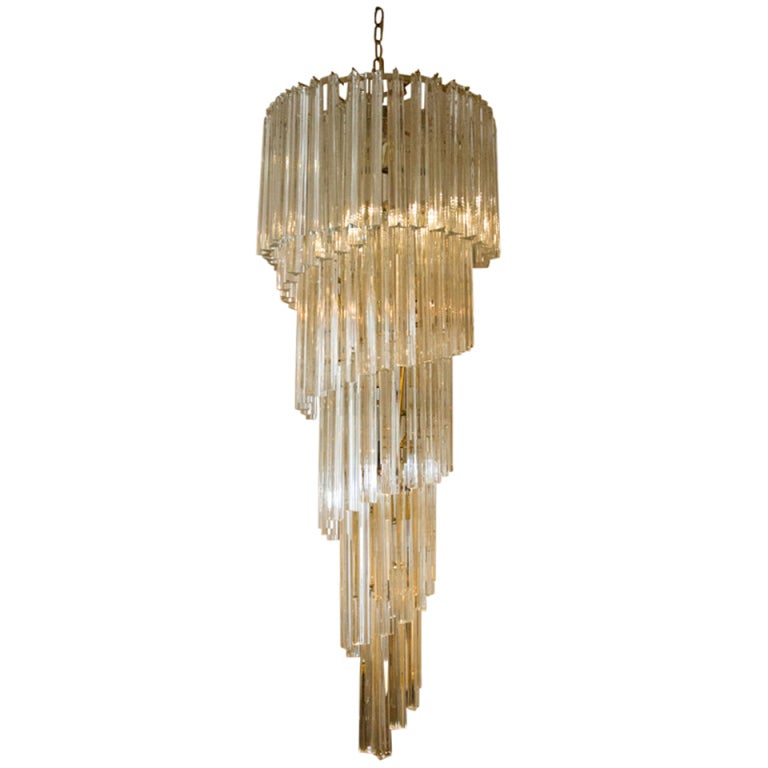 Murano Spiral Chandelier: Cascading Murano Chandelier By Venini At 1stdibs