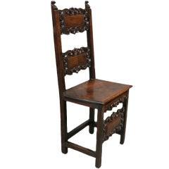 17th Century Italian Walnut Side Chair