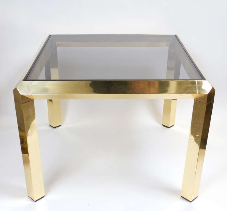Mid-Century modern polished brass square side-table with smoked glass top.
