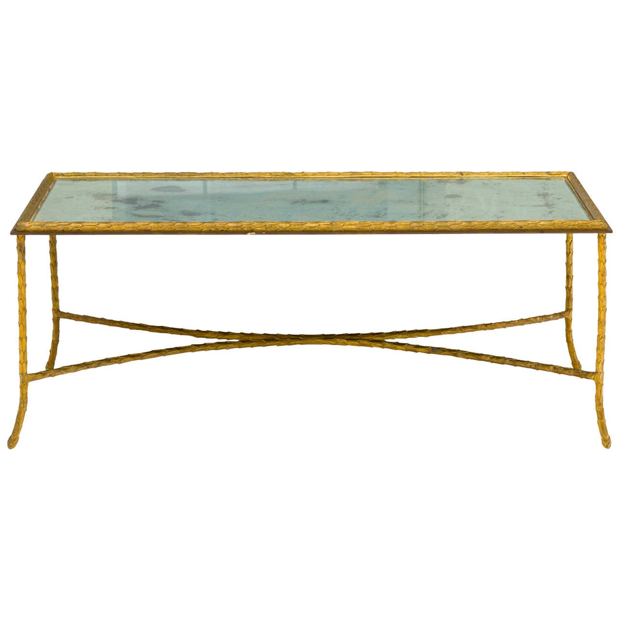 Elegant gilt bronze coffee table by maison bagues at 1stdibs Bronze coffee tables
