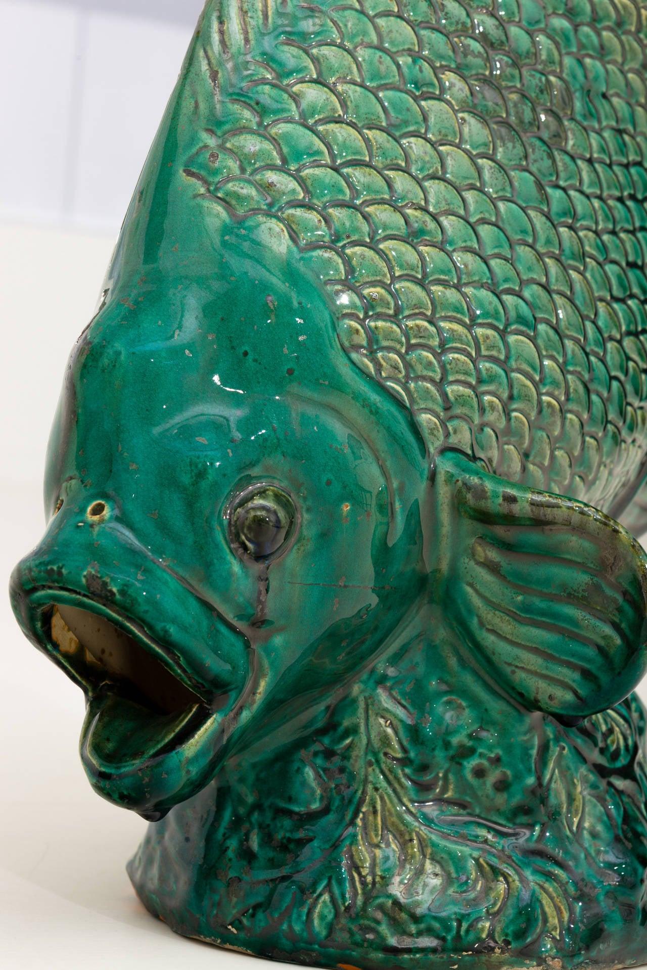 Beautiful emerald green glazed ceramic sculpture for Ceramic fish sculpture