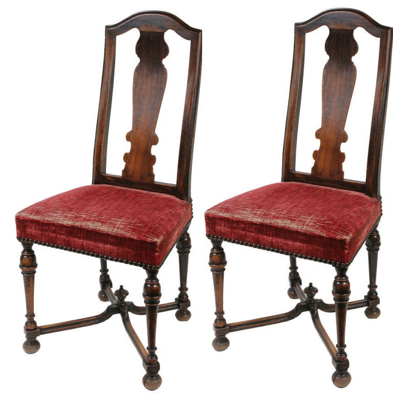 Pair of William and Mary Walnut Side Chairs
