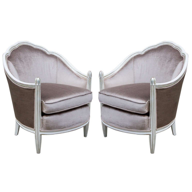 Pair of Silver Gilt and White Painted Art Deco Armchairs at 1stdibs
