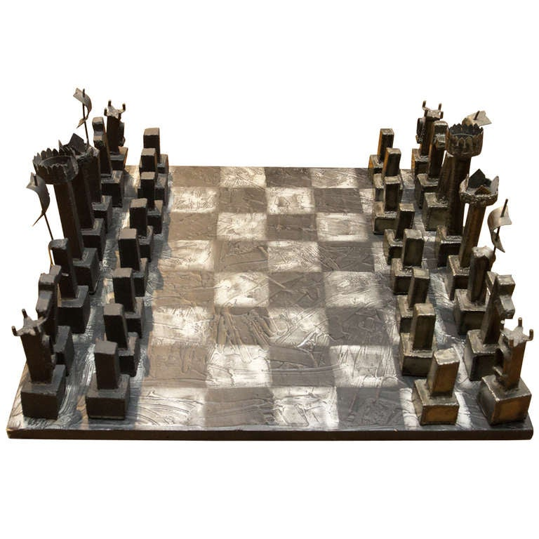 Steel Chess Set rare brutalist welded steel chess setpaul evans at 1stdibs