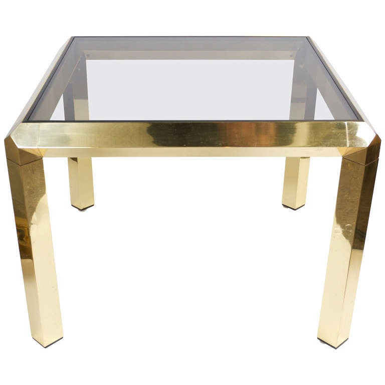 Italian Polished Brass Coffee Table For Sale