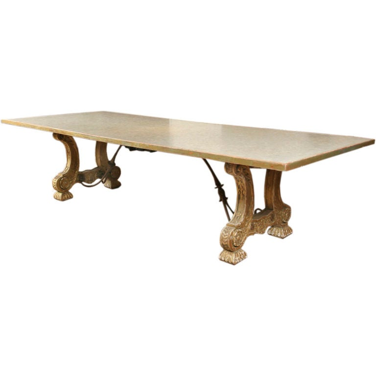 Large and unusual baroque style dining table at 1stdibs for Baroque dining table set