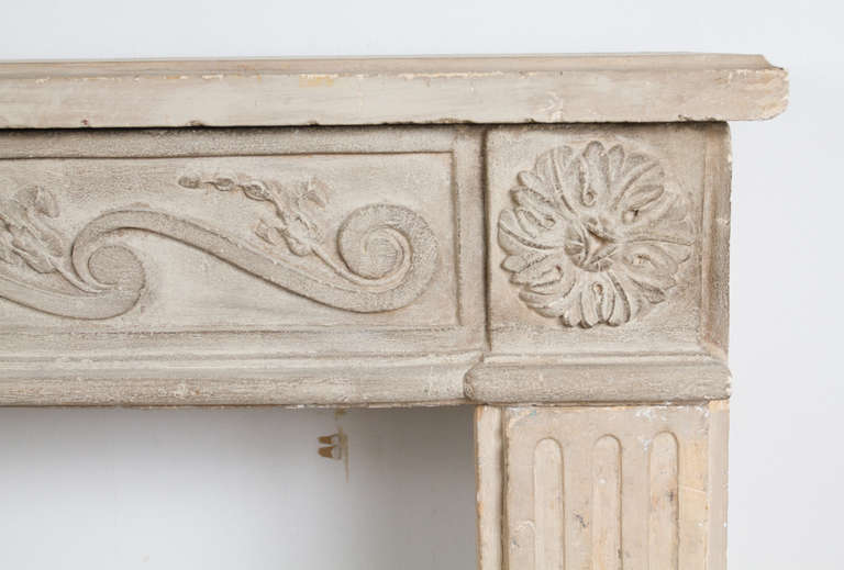 18th Century and Earlier Louis XVI Limestone Mantel For Sale