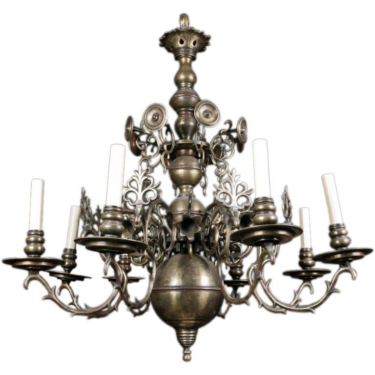 19th Century Dutch Brass Chandelier For Sale at 1stdibs