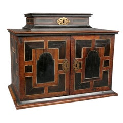 Beautiful 18th Century  Small Walnut Marquetry Inlaid  Cabinet