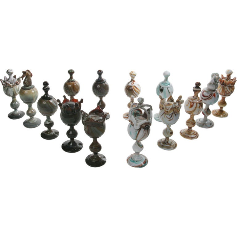 Art Glass Chess Set For Sale At 1stdibs
