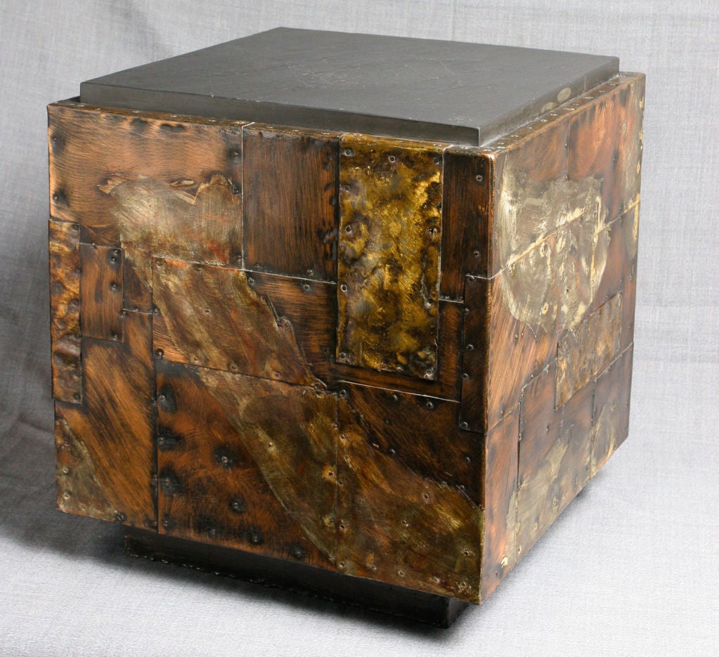 Paul evans copper patch work cube table at stdibs