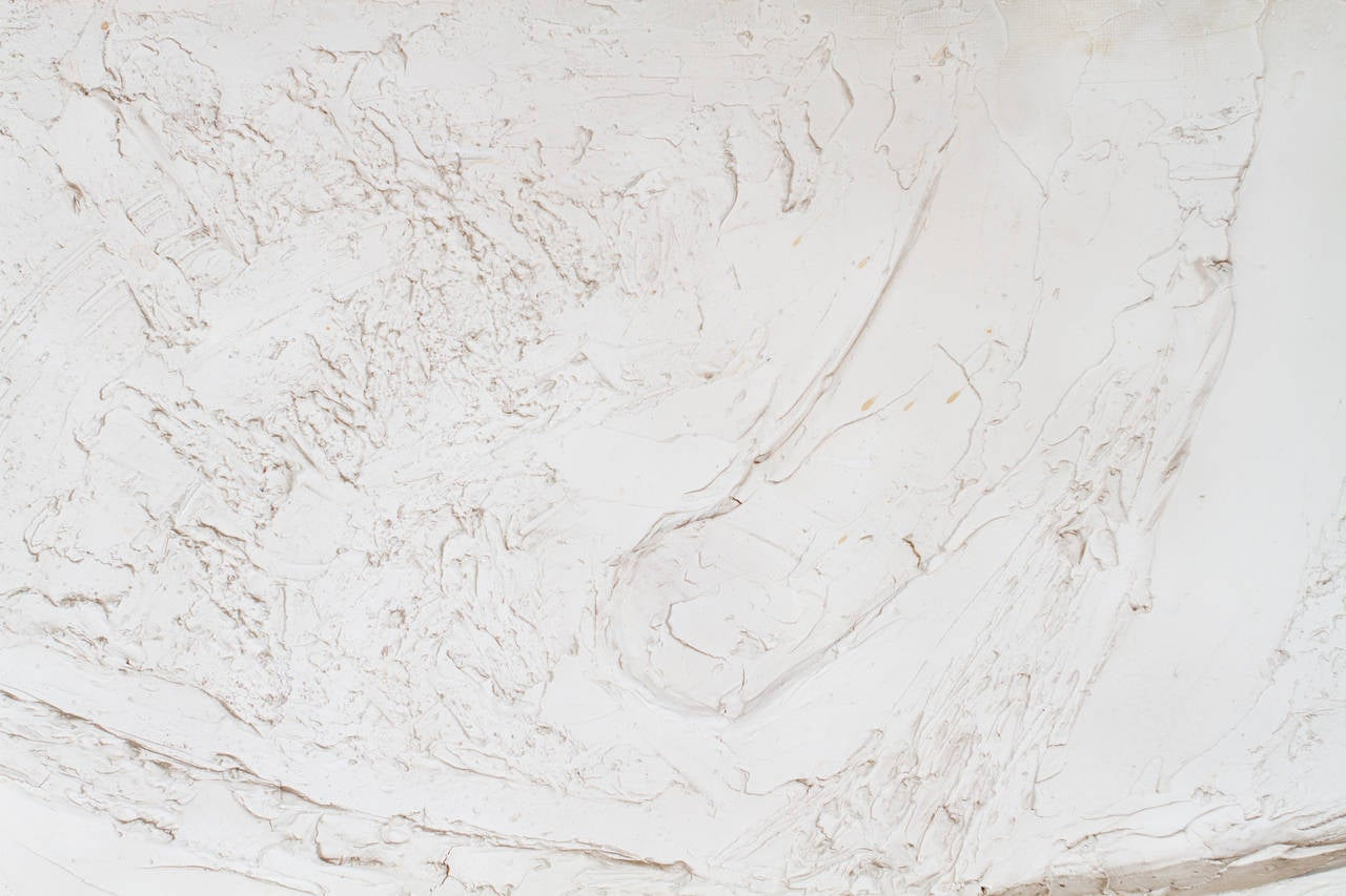 Canadian Mix-Media Plaster White Relief Abstract Painting For Sale