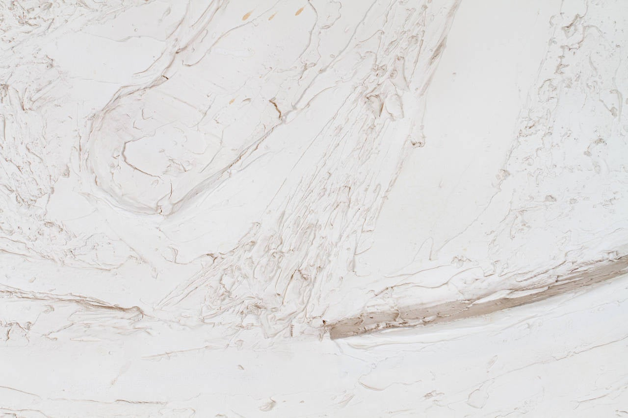 Mix-Media Plaster White Relief Abstract Painting In Good Condition For Sale In Montreal, QC