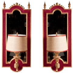 Pair of Giltwood Sconce-Mirrors