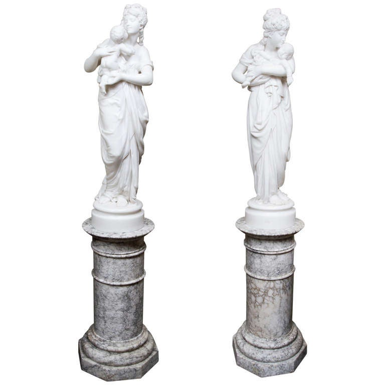 Beautiful Pair of Statuary Marble Belle Epoque Statues