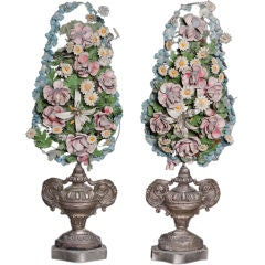 Pair of Decorative Urns with Tôle Flowers