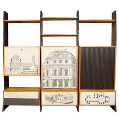 Fabulous Italian Wall Unit in the Manner of Fornasetti