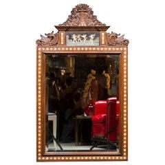 Walnut Renaissance Style Inlaid Mirror
