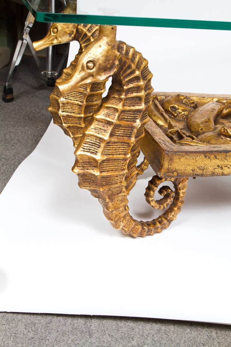 Gilt Metal And Terracotta Seahorse Table At Stdibs - Seahorse coffee table