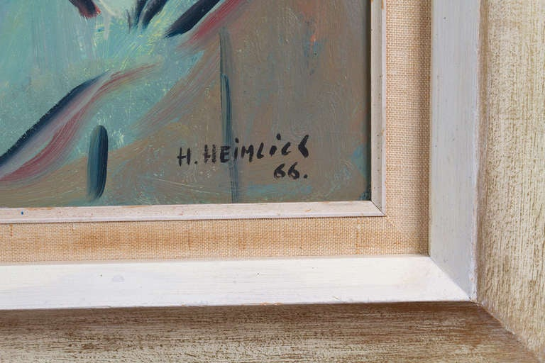Mid-20th Century Oil on Board Painting by Herman Heimlich For Sale