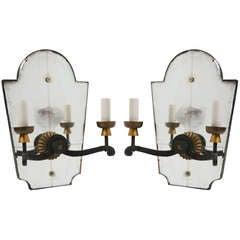 Pair of Mirrored Art Deco Sconces