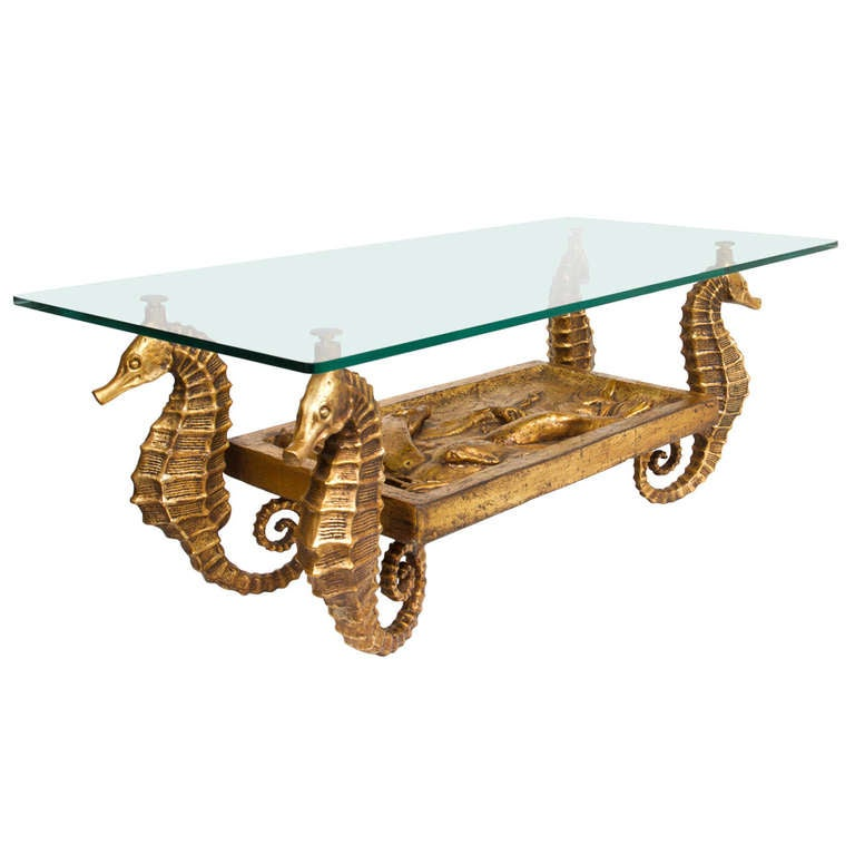 Gilt Metal And Terracotta Seahorse Table 1