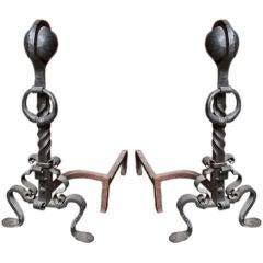 Pair of Wrought Iron Andirons