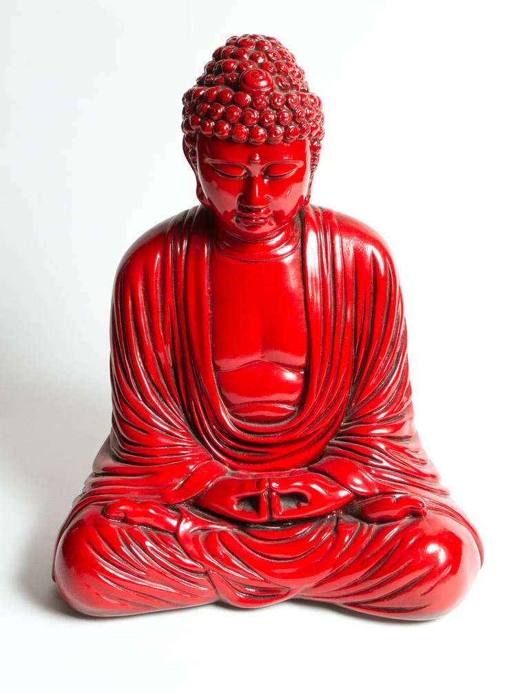 """Interesting red painted, cast plaster Buddha statue. Signed """"Jackire. S #605"""" Bearing original label underneath: Jackir Studio Limited."""