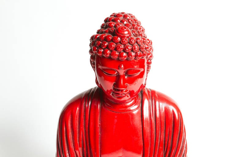 Canadian Interesting Red Buddha Statue For Sale