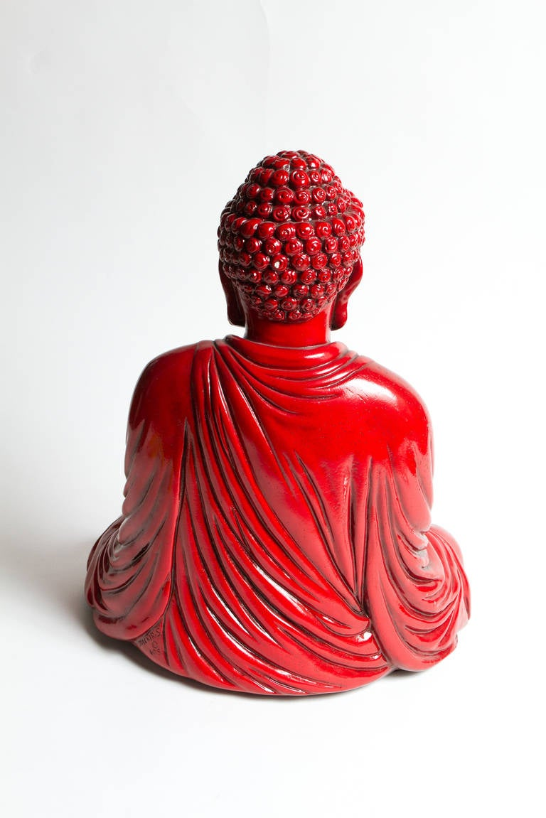 Late 20th Century Interesting Red Buddha Statue For Sale