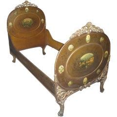Austrian Iron Bed with Painted Details