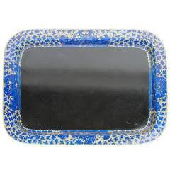 Interesting Black and Cobalt Blue Japanned Tray