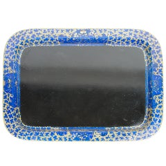 Interesting Black and Cobalt Blue Japanned Tray
