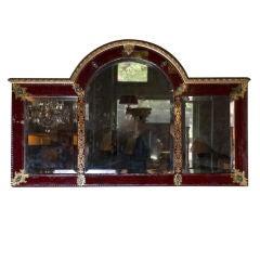Scarlet and Gilt Églomisé Overmantle Mirror