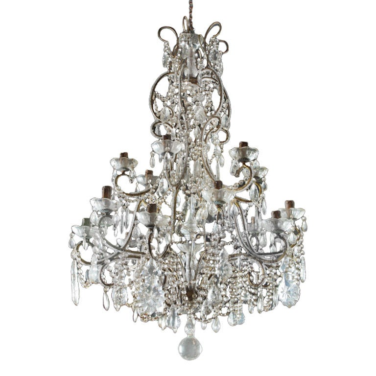 Large Cut Glass And Gilt Metal Chandelier