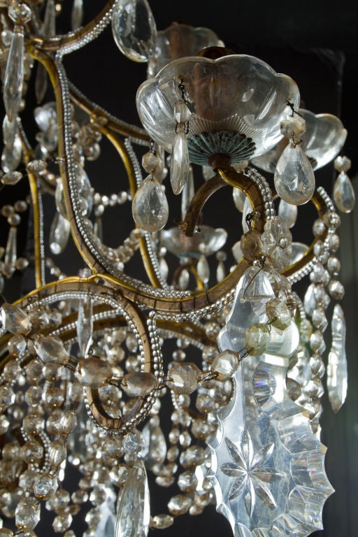 Large Cut Glass And Gilt Metal Chandelier At 1stdibs