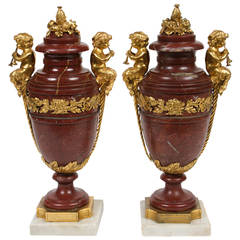 Beautiful Pair of Neoclassical Style Gilt Bronze and Marble Urns