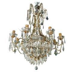 Elegant Gilt Metal and Glass Chandelier