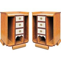 Pair of Art Deco Maple Night Tables