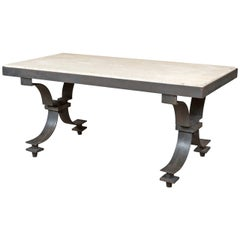 French Iron And Travertine Coffee Table