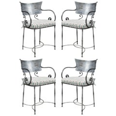 Set of Four Polished Steel Armchairs