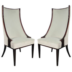 Stylish Lacquered Wood and Velvet HIgh Back Chairs