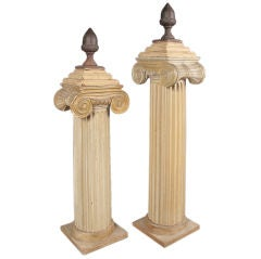 Single painted wood and plaster Ionic column