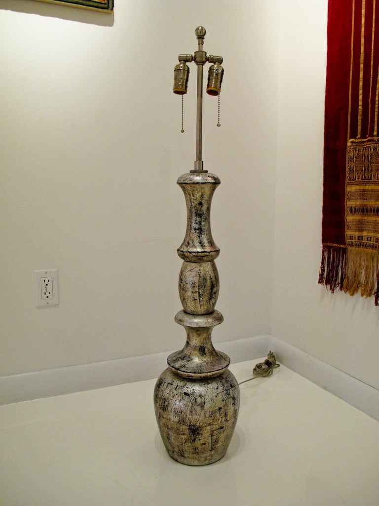Carved Lamp in the Manner of James Mont For Sale