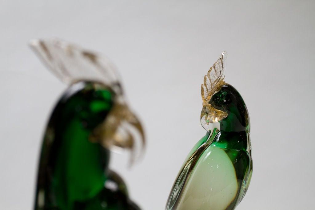 Italian Murano Glass Parrot Sculpture For Sale